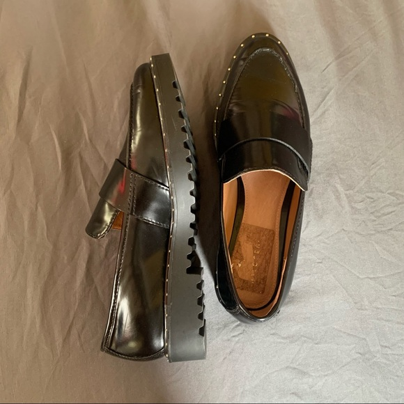halogen patent leather studded loafers